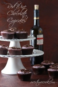 Red Wine Chocolate Cupcakes with Red Wine Glaze