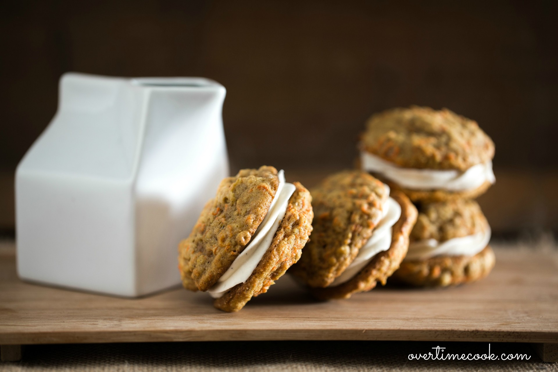 Carrot Cake Sandwich Cookies with Cream Cheese Filling - Overtime Cook