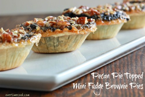 Pecan Pie Topped Mini Fudge Brownie Pies - Overtime Cook