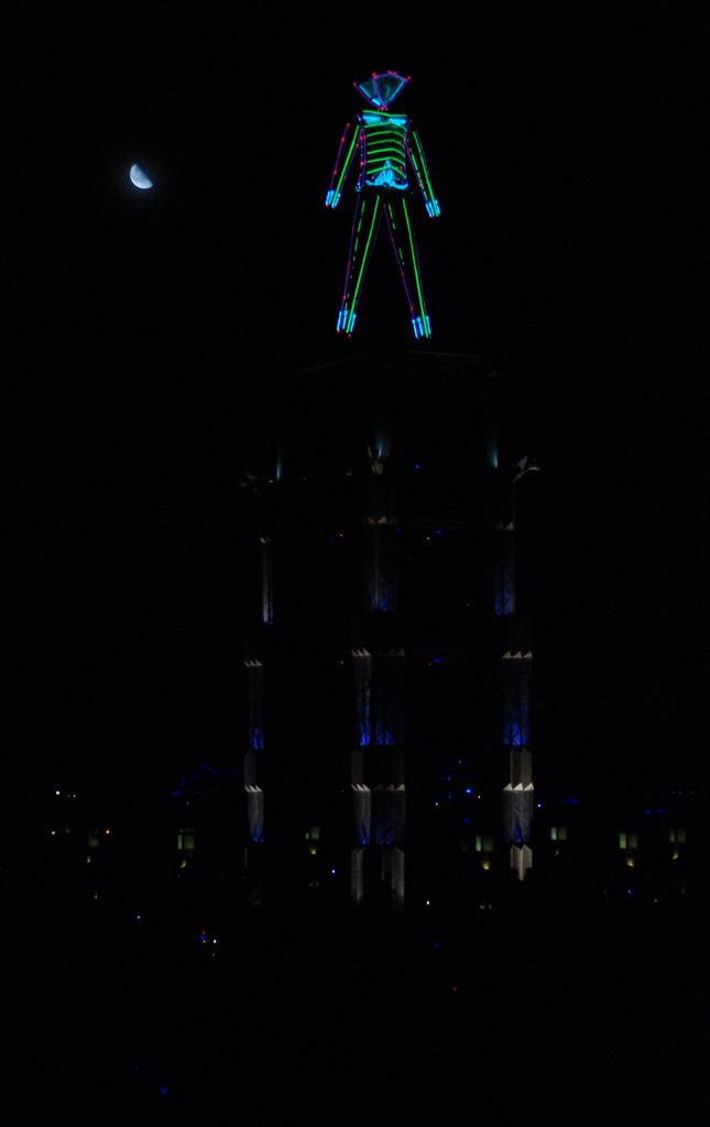 Burning Man at moonlight