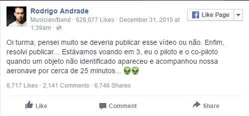 Ator da Globo filma OVNI / UFO durante voo entre Rio de Janeiro e Campinas Brasil