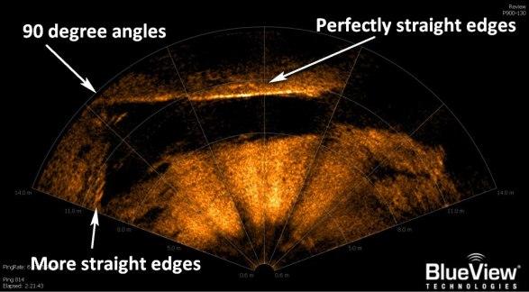 Uma das muitas imagens por sonar que desafia explicação, devido à construção geométrica não natural.