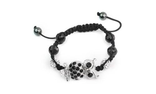 Black Beads Rope Woven Owl Bracelet