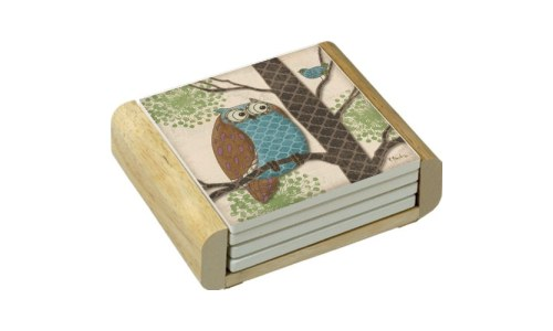 Cute Absorbent Owl Coasters With Wooden Holder