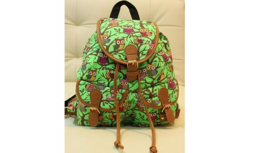 Retro Print Owl Backpack Shoulder Bag