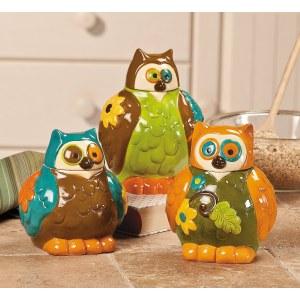 Vibrant Owl Canister Jars (set Of 3)