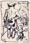 """Busch-Zeichnung vom philosophischen Flaneur Arthur Schopenhauer mit Pudel """"Atman"""""""