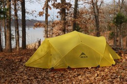 MSR Mutha Hubba tent with rain fly at a wooded campsite at Berry Bend Campground on Truman Lake