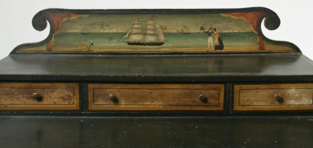 34:Nautical Painted Dressing Table with Sailor and Ship