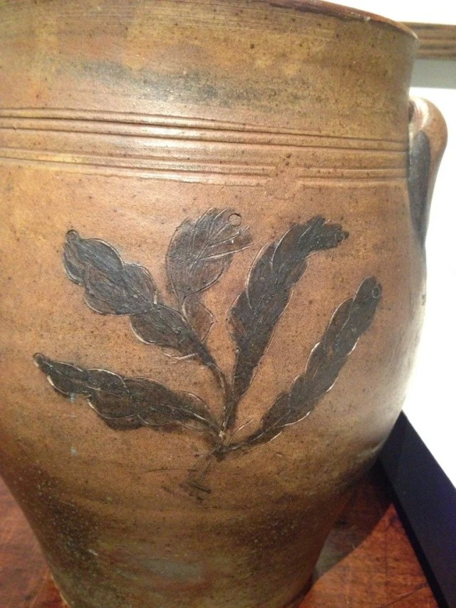 71A  Stoneware Crock with Incised Cobalt Blue Ship