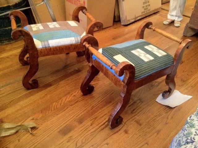 100: Pair of Classical Figured Maple Stools