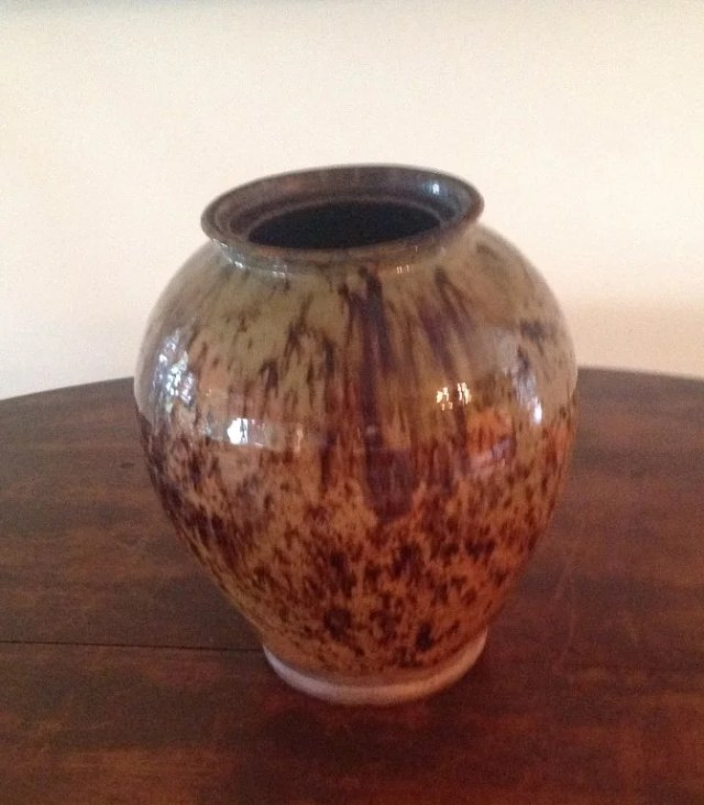 124: Redware Copper Oxide and Manganese Decorated Jar