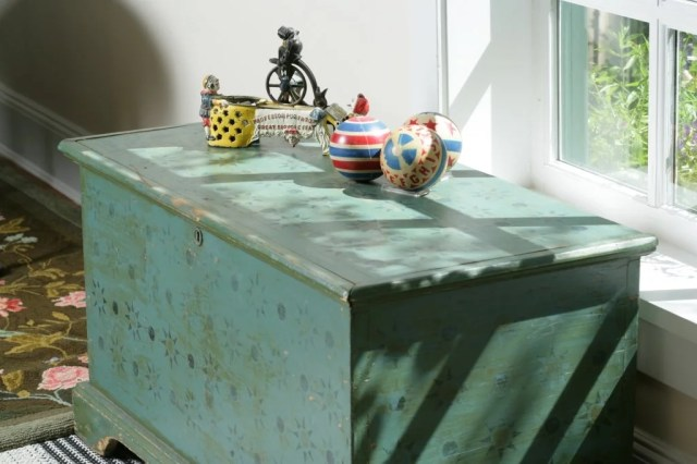 129: Blue-Painted and Stenciled Blanket Chest