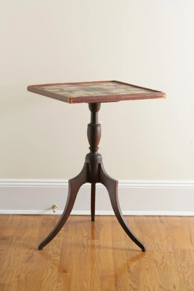 130: Federal Tilt-Top Candlestand with Painted Game