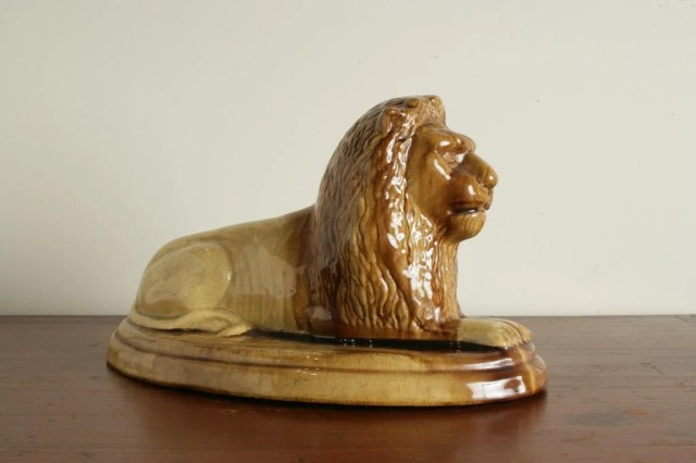 140: Glazed Earthenware Pottery Recumbent Lion