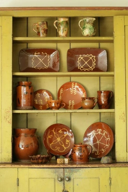 144: Three Glazed and Decorated Redware Vessels