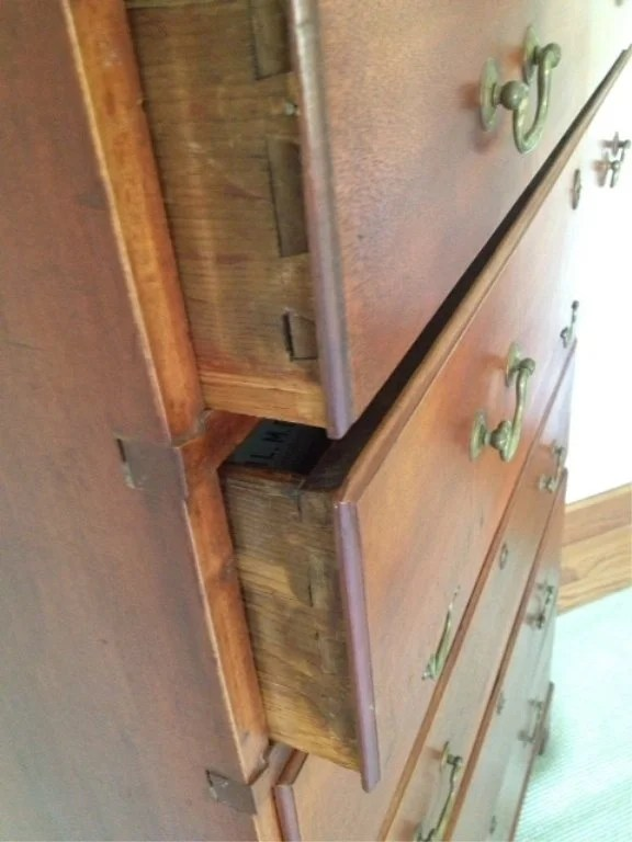 169:Chippendale Red-Stained Tall Birch Chest of Drawers