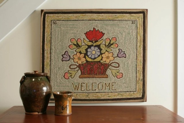 183: Hooked 'Welcome' Rug with Basket of Flowers