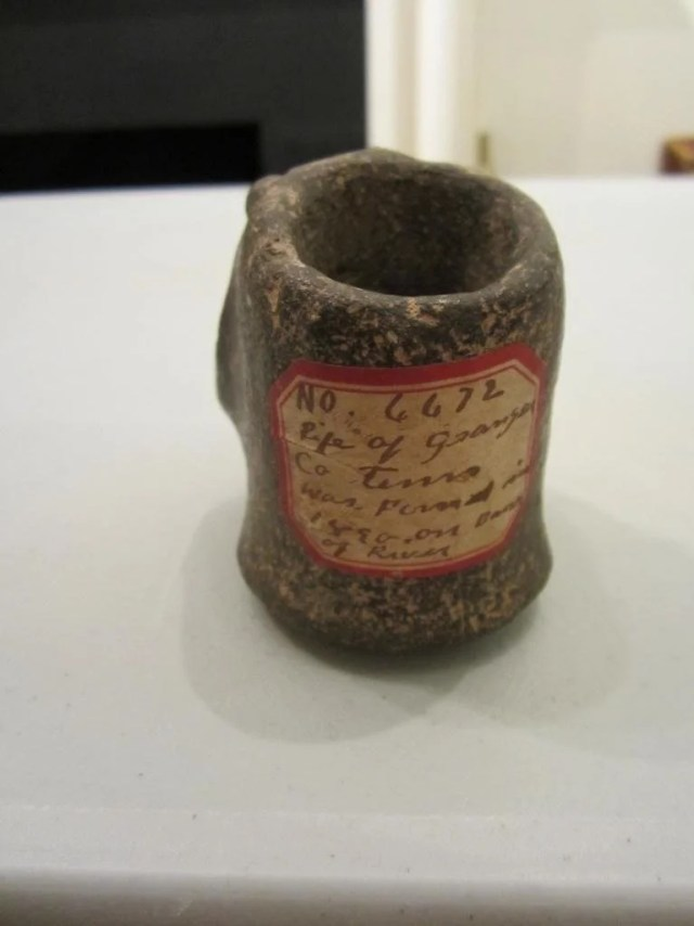 237: Pottery Pipe from Tennessee and a Green Stone