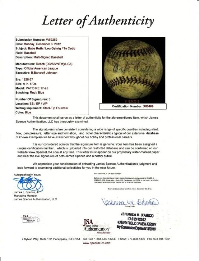 247: Babe Ruth / Lou Gehrig / Ty Cobb Signed Baseball