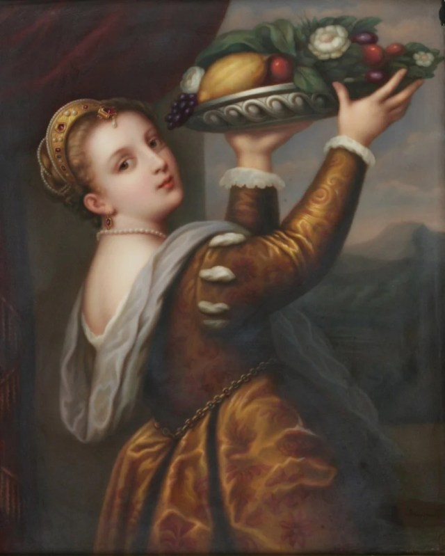 278: KPM Porcelain Plaque of Young Woman with Fruit