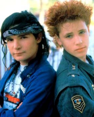 Corey Haim (right) and Corey Feldman back in more innocent days