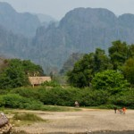 Mountains and Nam Xong river in Vang Vieng