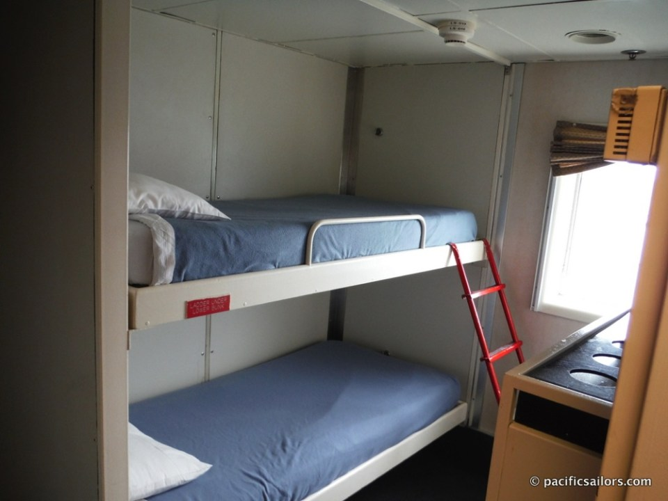 Our room aboard the M/V Matanuska has bunk beds, a private bathroom with shower and even a window.