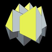 Abstract 3D geometric design 2 Point Perspective yellow gray
