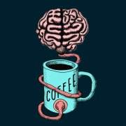Coffee for the brain illustration
