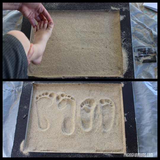 Creating the actual sand mould of your child's foot