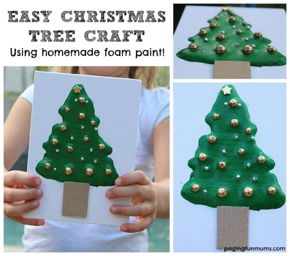 Easy Christmas Tree Craft - made using homemade foam paint!