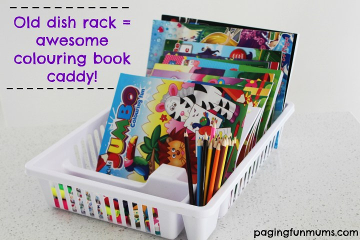 Old dish rack to awesome colouring book caddy
