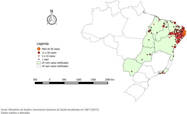 Mapa de distribuição da doença com casos confirmados de microcefalia