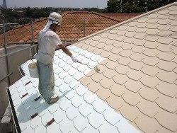 ガイナ塗装 中塗り(屋根塗装2層目)