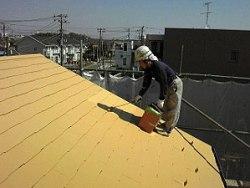 ガイナ塗装 上塗り(屋根塗装3層目)