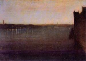 Nocturne-in-gray-and-gold,-Westminster-Bridge-by-James-Abbot-McNeill-Whistler
