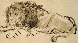 Rembrandt_A-Lion-Lying-Down_detail