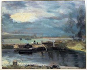 Barges on the Stour, with Dedham Church in the Distance, 1811 oil sketch by John Constable