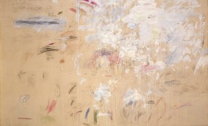 School of Fontainebleau, 1960 78.74 x 126.5 inches oil and pencil on canvas by Cy Twombly