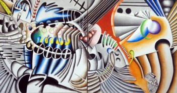 When the Big Ones Eat the Small Ones (2015) Acrylic on canvas 120×60 inches by Marcos Raya (b. 1948)