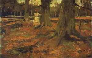 Girl in White in the Woods, 1882 Oil on paper mounted on canvas by Vincent van Gogh (1853-1890)