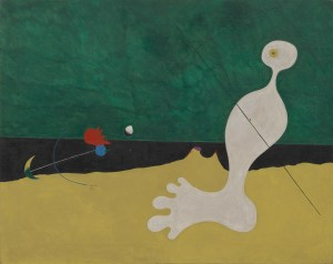 Person Throwing a Stone at a Bird, 1926 oil on canvas 29 x 36 1/4 inches by Joan Miró