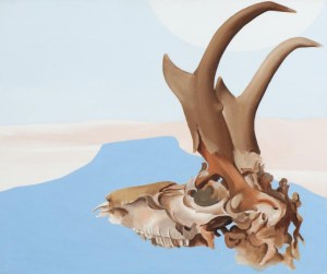 Antelope Head with Pedernal, 1953 oil on canvas 32 3/8 × 36 1/4 × 4 inches by Georgia O'Keeffe