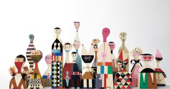 Dolls Solid pine wood, hand-painted with mixed media, including feathers, twine, etc. Designed by Alexander Girard (1907-1993) and manufactured by Vitra