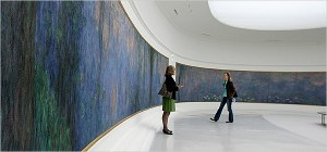 Too large to be moved, Monet's water liles remained in place during 2000-2006 renovations of the oval rooms built for them in 1927. Musée de l'Orangerie, Paris Remy de la Mauviniere photo