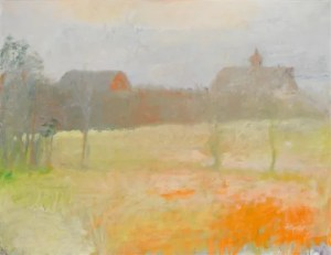 Two Barns at Dawn, 1973 oil on canvas 36.4 x 48.3 inches by Wolf Kahn