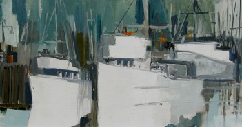 White Boats oil on board 12 x 30 inches by Jack Hambleton (1916 -1988)