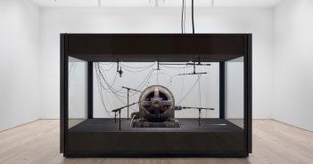 A view of a landscape: A cotton gin motor, (2012–2018) Cotton gin motor, microphones, soundproofing and audio hardware by Kevin Beasley (b.1985)