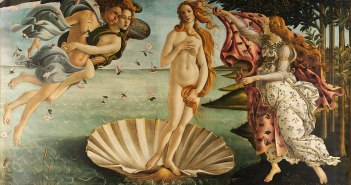 The Birth of Venus, c. 1484–1486  Tempera on canvas 172.5 cm × 278.9 cm by Sandro Boticelli (1445-1510)